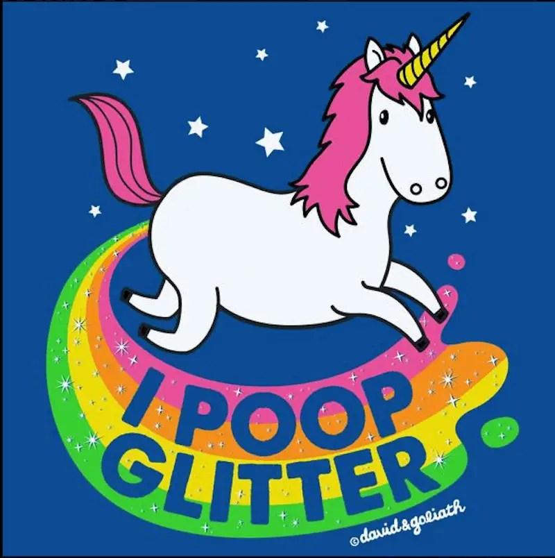 unicorn pooping glitter, david & goliath tee