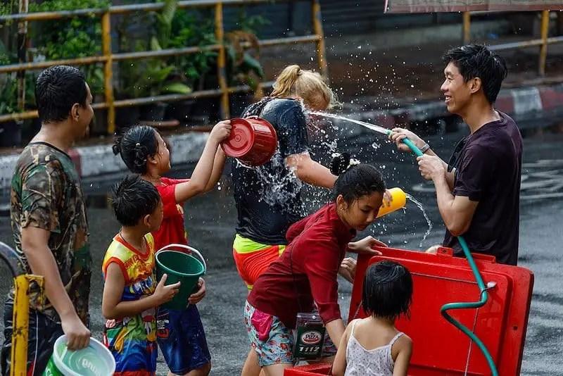 Songkran festival water fight. Festivals of Malaysia
