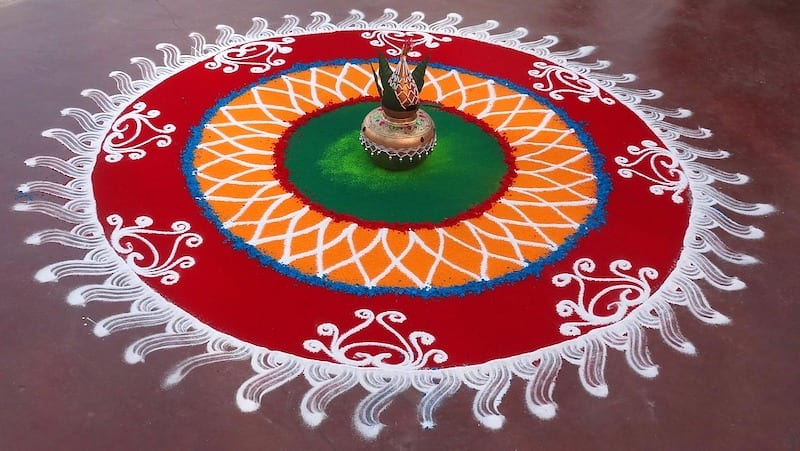 Rangoli-colored flour, chalk and and rice design