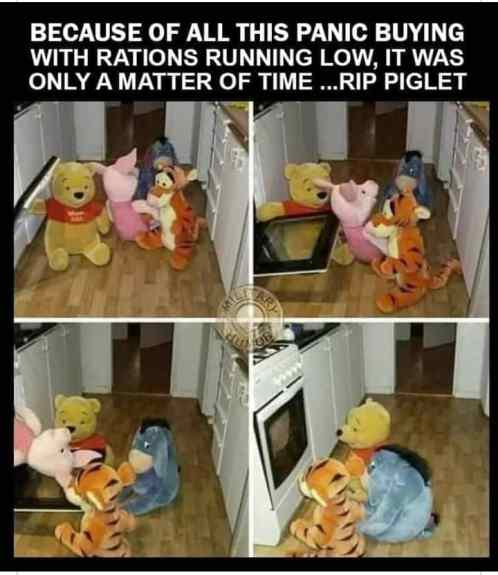 Piglet being cooked by Tigger and Pooh meme