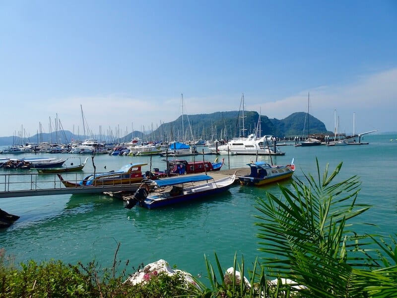 Langkawi harbor with boats. Places to Visit in Malaysia in 3 days