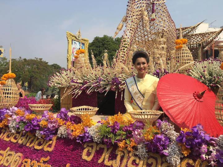 Girl in Chiang Mai on a float filled with flowers