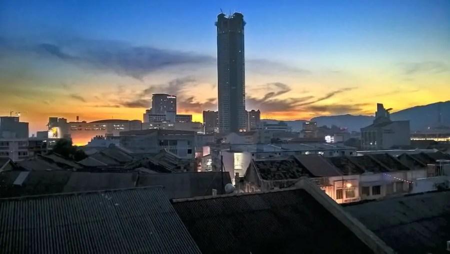 komtar building at sunset