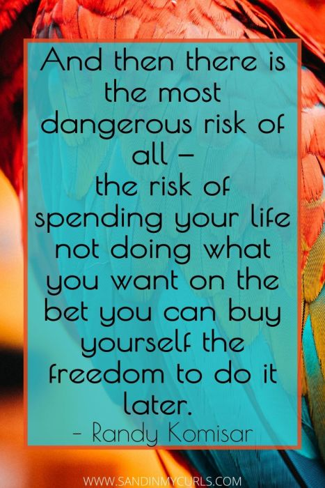 most dangerous risk of all — the risk of spending your life not doing what you want on the bet you can buy yourself the freedom to do it later.""