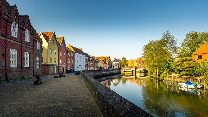 Colorful homes along the river, Norwich, England