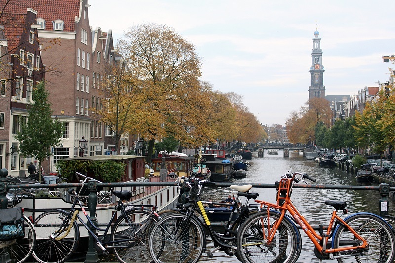bikes along the canal in Amsterdam