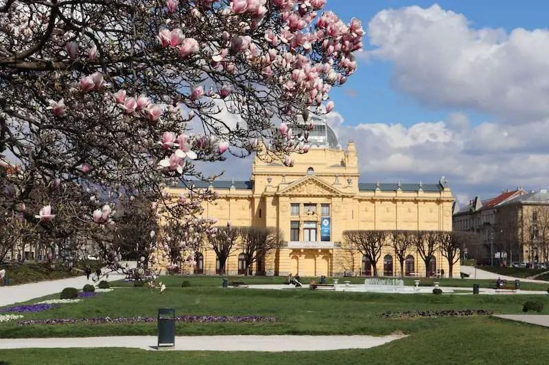 Beautiful building, cherry trees Croatia