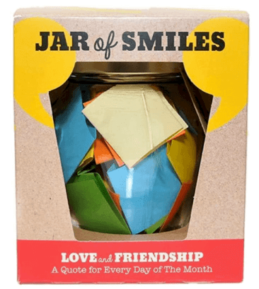 "Colorful box with Jar of Smiles written on it. ""Love and friendship–a quote for every day of the month."""