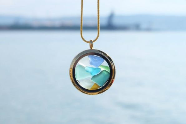 circle necklace with colorful sea glass inside: great gifts for beach lovers