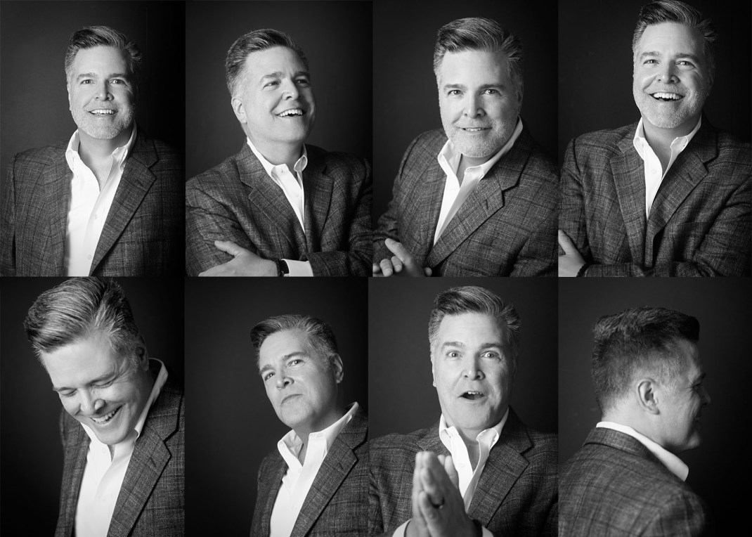 Am eight-image collage of Michael J. Mikuliza with different facial expressions, all in black and white.