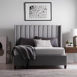 malouf blackwell upholstered bed frame w/ wingback headboard-desert,charcoal,stone,spruce