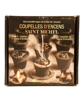 Coupelles Encens SAINT-MICHEL, 2 en 1  :  charbon + résine encens (prêt à brûler)