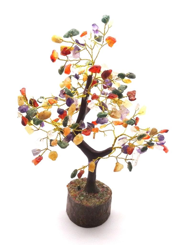 B – ARBRE DE VIE – 200 Pierres – Multico (Socle Bois, Tronc & Branches Résine) -Existe en  diverses pierres