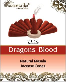 AROMATIKA CONES VEDIC MASALA DRAGONS BLOOD  (Sang des dragons) (couleurs végétales)