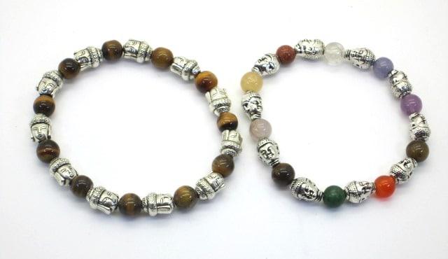 REF208.D – BRACELET PIERRES avec Tête de Bouddha métal argenté