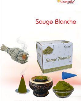 AROMATIKA POUDRE ENCENS 100g (avec kit pour cônes) SAUGE BLANCHE – Parfum SAUGE BLANCHE (couleur naturelle)