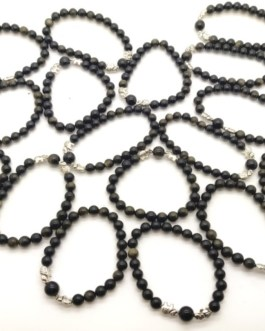 REF504 – BR. PIERRE OBSIDIENNE DOREE, perles 8mm, 2 éléphants métal
