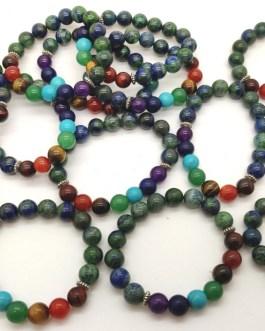 REF500A – BR. PIERRE perles 10mm – 7 CHAKRAS et CHRYSOCOLLE