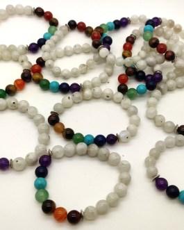 REF500A – BR. PIERRE perles 10mm – 7 CHAKRAS et PIERRE DE LUNE