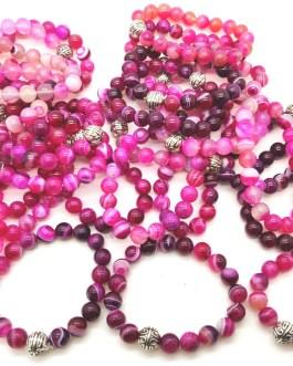 REF501A – BR. PIERRE perles 10mm avec 1 perle métal ONYX ROSE