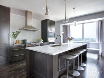 Modern Neutral Kitchen With Mosaic Tile Backsplash Luxe