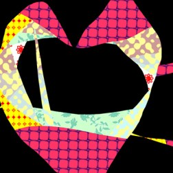 a heart with a hole in it made of different patterns