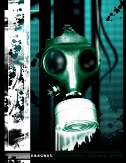 a gasmask dripping some sort of poison fluid in a broken glass setting