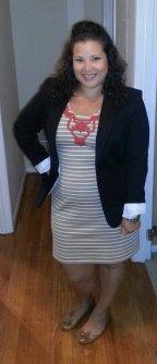 striped Sharagano dress, chaus blazer
