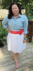 chambray shirt + white skirt