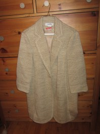 Nine West sand colored long jacket