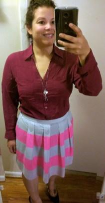 november 2016 budget - j crew striped mini skirt + portofino shirt very berry