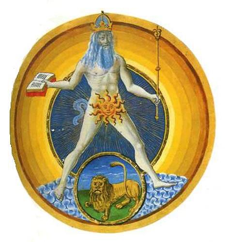 "Солнце. Аполлон. ""De Sphaera"". Codex Estansis Latinus 209. Modena. Biblioteca. 15 век"