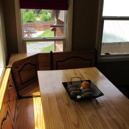 Kitchen nook table and view