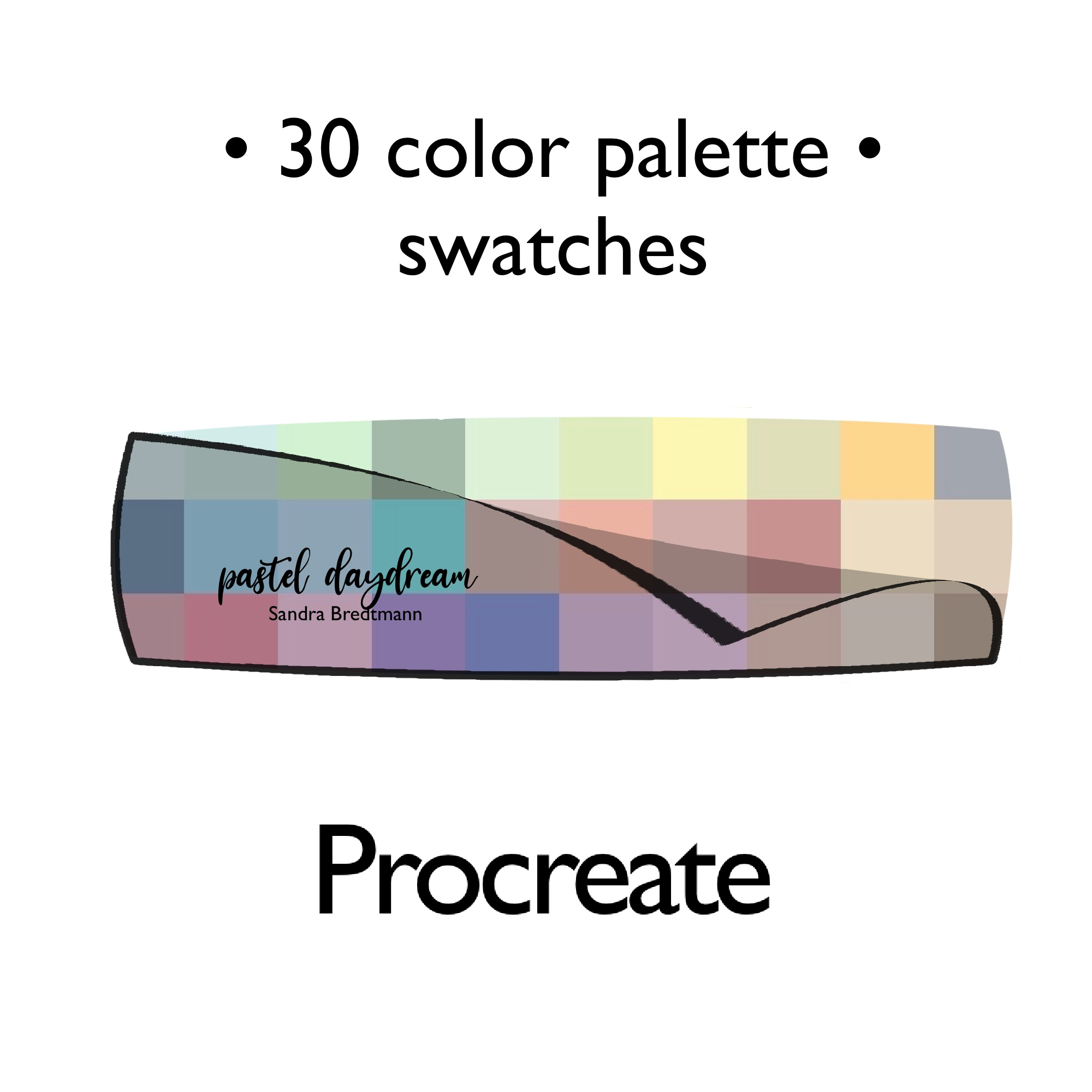 Pastell Tagtraum Farbpalette Procreate Adobe Photoshop oder Illustrator swatches