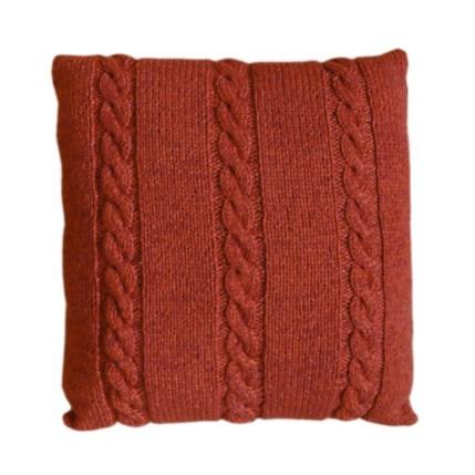 Handgebreid kussen, terracotta