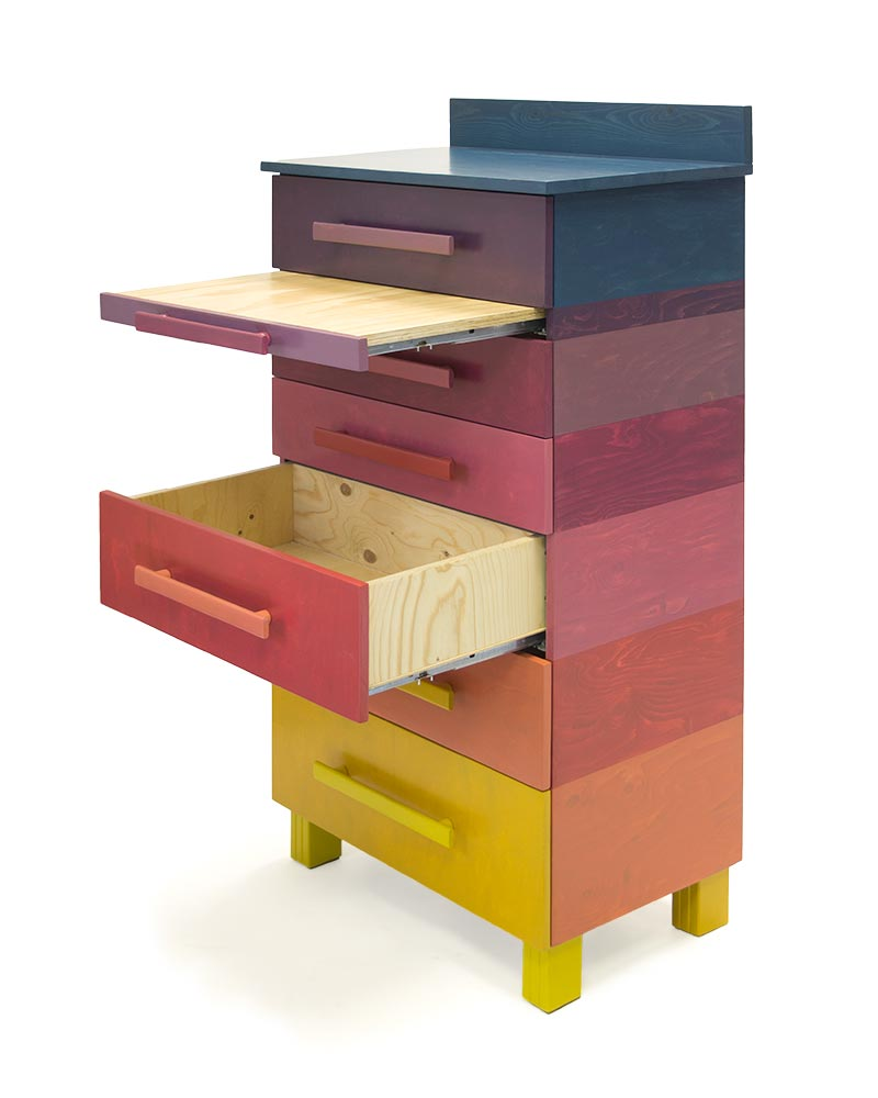 Kast met negen kleuren sandra catsburg meubels - Uitschuifbare kast ...