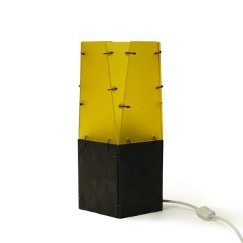 Schemerlamp, geel met zwart