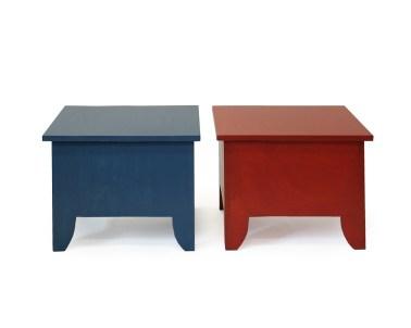 Salontafel met opbergruimte, blauw en rood