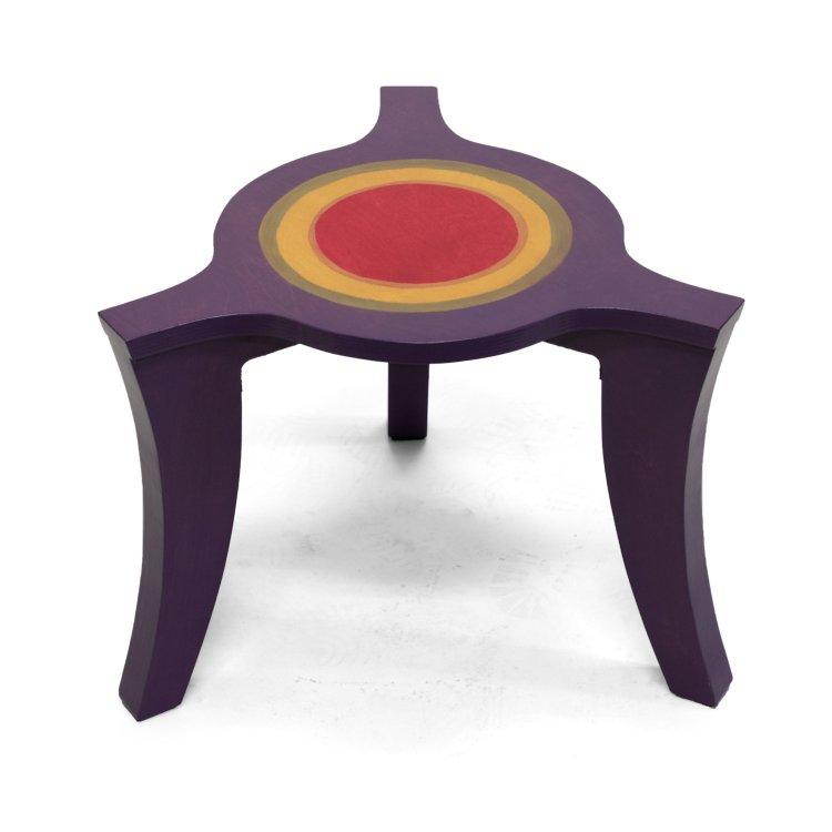 Driepoot salontafel paars-geel-rood