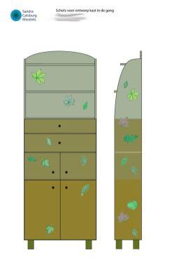 Schets voor kast met bladeren