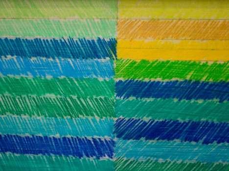 Salontafel met getekende strepen, blauwe versie, detail
