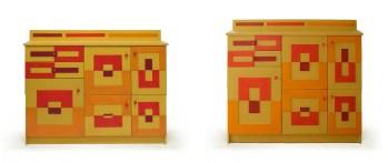 Nieuwe versie van kast met gekleurde vlakken