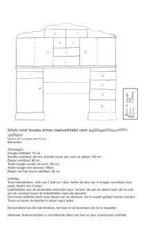 Schets bureau met opbouw