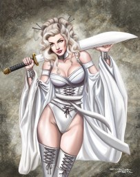 Platinum-blonde Lisolette Geisha by Sandra Chang-Adair is one of the characters from her comic, Gothic Geishas, about rebels fighting a dystopian society.