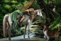 The lovely, sleeping butterfly-winged fairy is sound asleep on a white unicorn by a flowing brook in an enchanted forest. A hunter in the background watches her with his two faithful companions. The dogs are based on Sandra's Australian shepherd, Freckles, and shetland sheepdog, Ripley. The likeness of the hunter is based on her husband, but what is he doing looking at other women...lol.