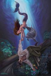 Little Mermaid Saving the Prince by Sandra Chang-Adair was printed in Corel Painter Magazine. The Little Mermaid attempts to pull the prince from a coral reef where his ship has sunk. Her best friend, a dolphin, attempts to help her.