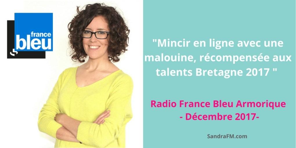 Mincir en ligne avec une malouine, récompensée aux talents Bretagne 2017 - france bleu armorique decembre 2017 presse