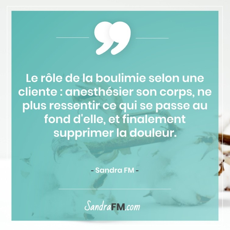 Travail de fond boulimie Sandra FM