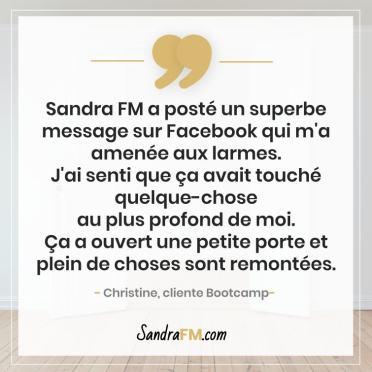 Bootcamp Avant Apres Temoignage Christine Libération Violence Psy Sandra FM Facebook Larmes