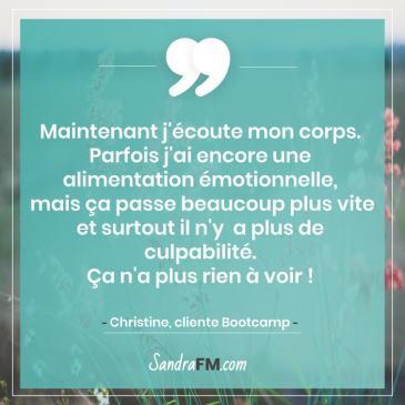 Bootcamp Avant Apres Temoignage Christine Libération Violence Psy Sandra FM alimentation emotionnelle